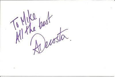 Adrian Decosta Actor signed white card dedicated in person autograph Z2945