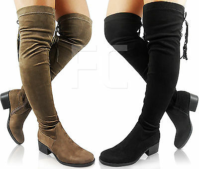 63fdfd5967e2 New Womens Ladies Chunky Block Low Heel Thigh High Over Knee Tassel Boots  Size