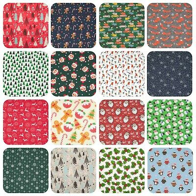 Christmas Polycotton Fabric Material FAT QUARTER / BY THE METRE BUY 3 GET 1 FREE