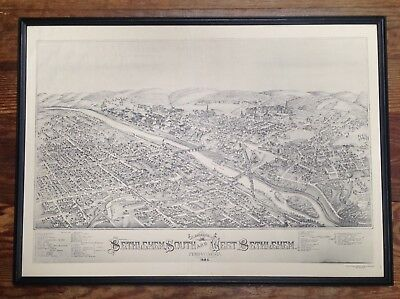 1886 Birds-Eye View of Bethlehem, Pennsylvania - Framed