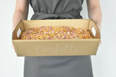 Natural Dried Petal Biodegradable Wedding Confetti Pink Golden 4 litres & Tray