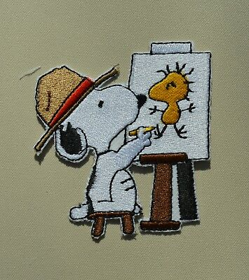 patch, chein, snoopy peintre , broder et thermocollant, 8.5cm (1a)