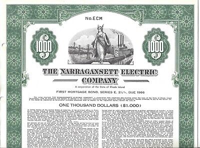 """The Narragansett Electric Company...""""specimen""""  First Mortgage Bond"""