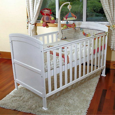 4Baby White Vienna Curved Top Cot Bed & Deluxe Foam Mattress From Birth