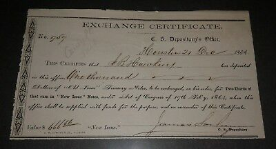 Confederate Exchange Certificate - Houston, TX 1864