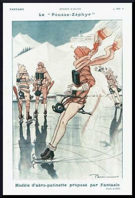 1927 ORIGINAL FRENCH ART DECO PRINT Propeller Propelled Ice Skating by PEM F737