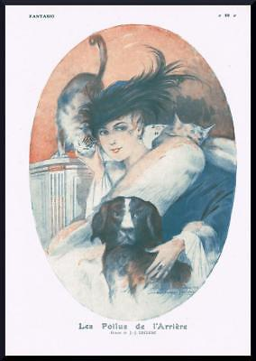 1916 ORIGINAL FRENCH PRINT Lady with Cats & Dog by JULIEN JACQUES LECLERC (F740)
