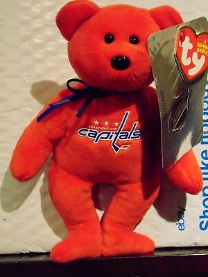 "2018 NEW NHL Washington Capitals  8"" Ty Beanie Baby Hockey Bear"