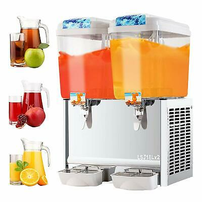 Commercial 4.8 gal*2 Tank Frozen Juice Beverage Dispenser Fruit Tea Cold Drink