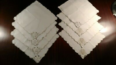 Set of 8 hand embroidered lace napkins