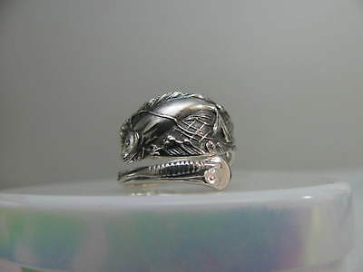 Sterling Silver spoon RING s 6 1/4 FISH in NET Jewelry # 6341