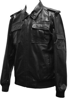 Mens Real Leather Casual Bomber Military Style Jacket Classic Baseball