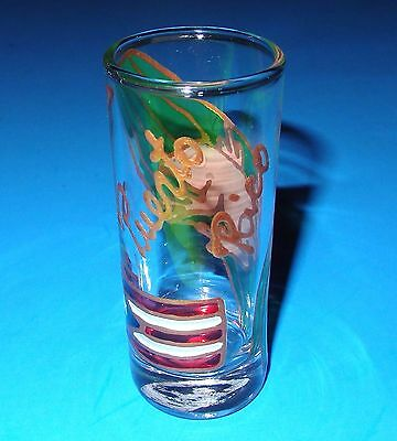 """puerto Rico"" Hand-Painted With Flag & Frog On A 3-5/8"" Shot Glass Made In Peru"