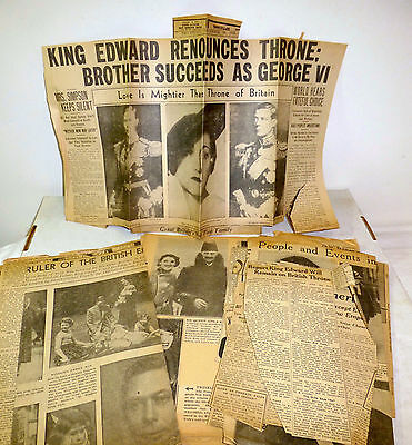 1936-37 newspaper clippings of King Edward, Wallace Simpson British Royal family