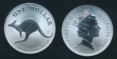Australia: 1998 1oz .999 Silver $1 Kangaroo UNC Encapsulated