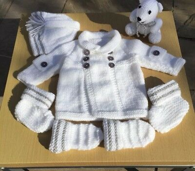 New Hand Knitted Baby Cardigan Gift Set with Teddy.White and Grey. 0-3 Months