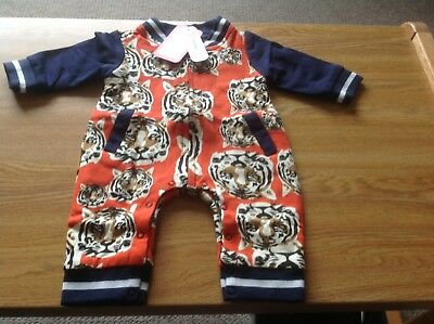 Pat pat Gorgeous Tiger Pattern Long Sleeve Jumpsuit Age 0-3m New With Tags