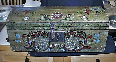 c1890 Original Toll Painted Dome Top Small Trunk Square Nails Some Repair