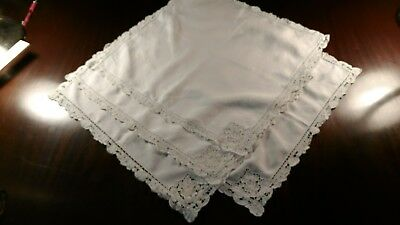 Set of 4 20 inch square  white linen cotton napkins with handmade lace