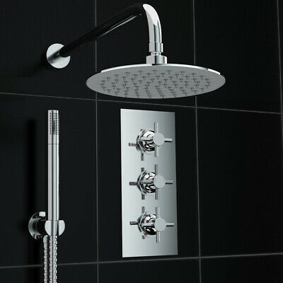 Concealed 2 Way Round 200mm Thermostatic Mixer Shower Valve Kit