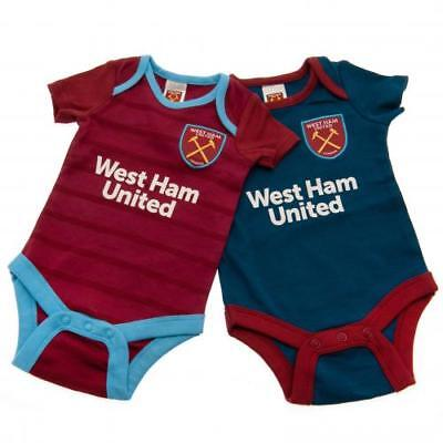 West Ham United Bodysuit 6/9 Months 2 Pack 18/19 BL Official Licensed Product