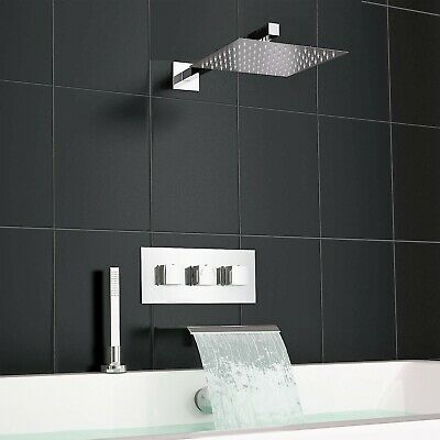 Square Waterfall Deck Bath Filler Kit and Concealed 3 Way Shower Mixer Valve