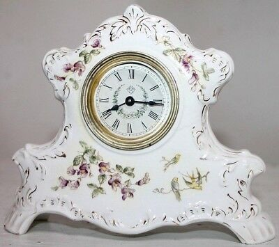 "Antique Ansonia Petite Hand Painted Porcelain ""bullfinch"" Desk / Mantel Clock."