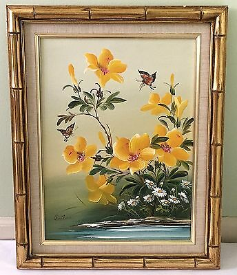 Beautiful C.k.chan Oil On Canvas Painting Butterflies And Flowers