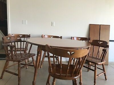 Tell City Hard Rock Maple Dining Table 2 Leaves + 6 Chairs
