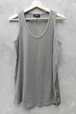 New Theory Army Green Combo Tank Open Slit Side Sleeveless Top Shirt P XS