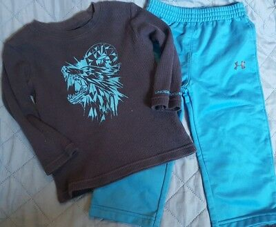 Cute Boys Under Armour 2pc Outfit set Baby 18m Wolf
