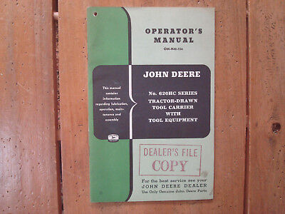 John Deere 620HC Series Tool Carrier with Tool Equipment Operator's Manual