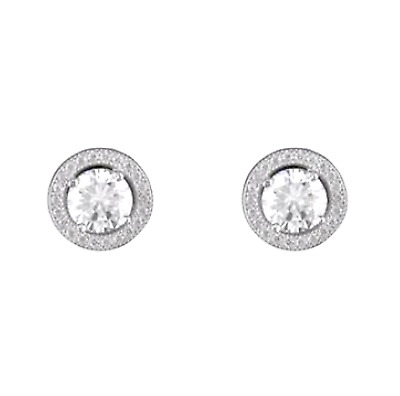 Round Halo CZ 925 Sterling Silver Stud Earrings