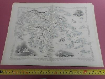 100% Original Greece  Map By Tallis C1855 Original Colour Vgc Athens
