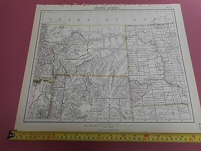 100% Original Montana Wyoming United States Map By Letts C1892 Vgc Sheet 12