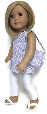 "Lavender Floral Top,Purse & White Leggings fits 18"" American Girl Doll Clothes"