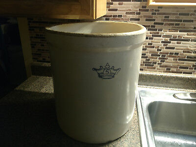 Stoneware Crock 5 Gallon Robinson Ransbottom Crown Antique Vintage Extra Large