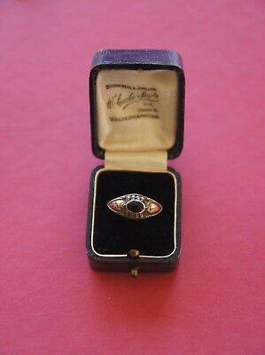 Antique Victorian Sterling 925 Silver Rolled Gold & Jet Ring Size P 1/2 - Boxed