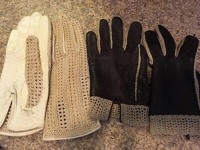 Lot Of Two Antique Victorian Ladies Leather Knit Gloves Estate