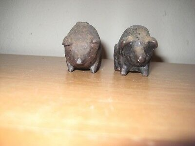 Vintage - Antique Pair Of Miniature Cast Iron Pigs / NITTANY