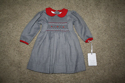 Nwt Carriage Boutique Infant Girls Gray Ls Dress Red Accent Smocked Bodice - 12M