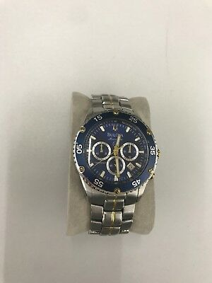Bulova $399 Men's Marine Star Two-Tone Chronograph Watch, Date, Blue Dial 98H37