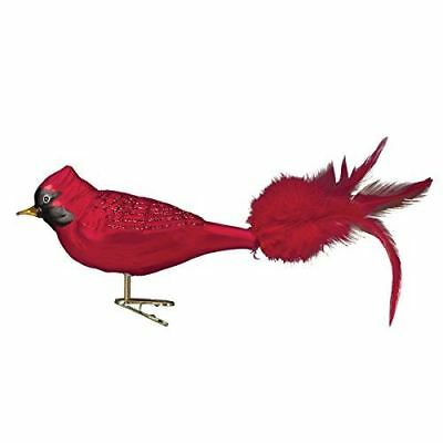 Large Red Cardinal Old World Christmas Glass Clip On Bird Aviary Ornament 18009