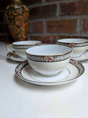 Vintage Noritake Art Deco Chanbard Pattern Cup and Saucer Discontinued Gold Trim