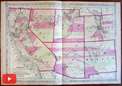 Western U.S. California AZ Colorado NV UT NM 1864 Johnson detailed map