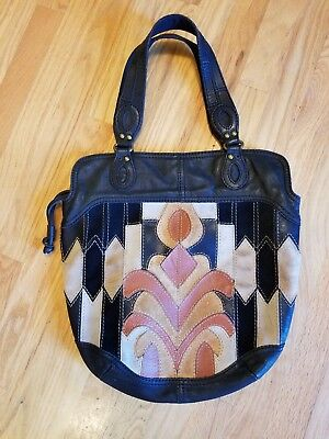Vtg Lucky Brand Lotus Flower Patchwork Leather Hobo Shoulder Bag Tote Purse