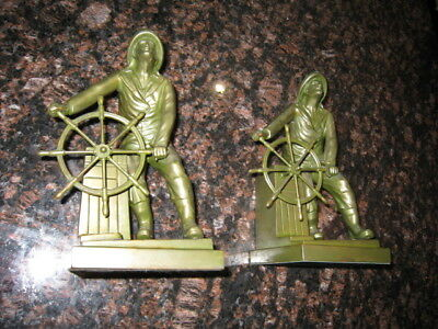 Rare Jennings Bros, Leonard Craske Nautical Fisherman  At Ship's Wheel Bookends