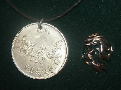 Adjustable Stainless Steel Dragon Ring Vintage Silver Chinese Dragon Pendant Set