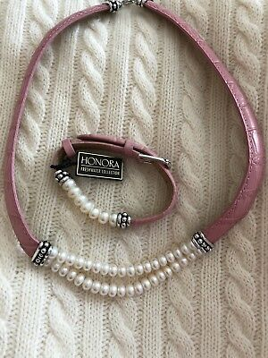 Honora Pink Leather And White Freshwater Pearl Necklace And Bracelet Set❤️