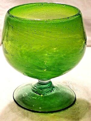 Spearmint Green Hand Blown Studio Art Glass Cup Stand Vase Unsigned No Chips